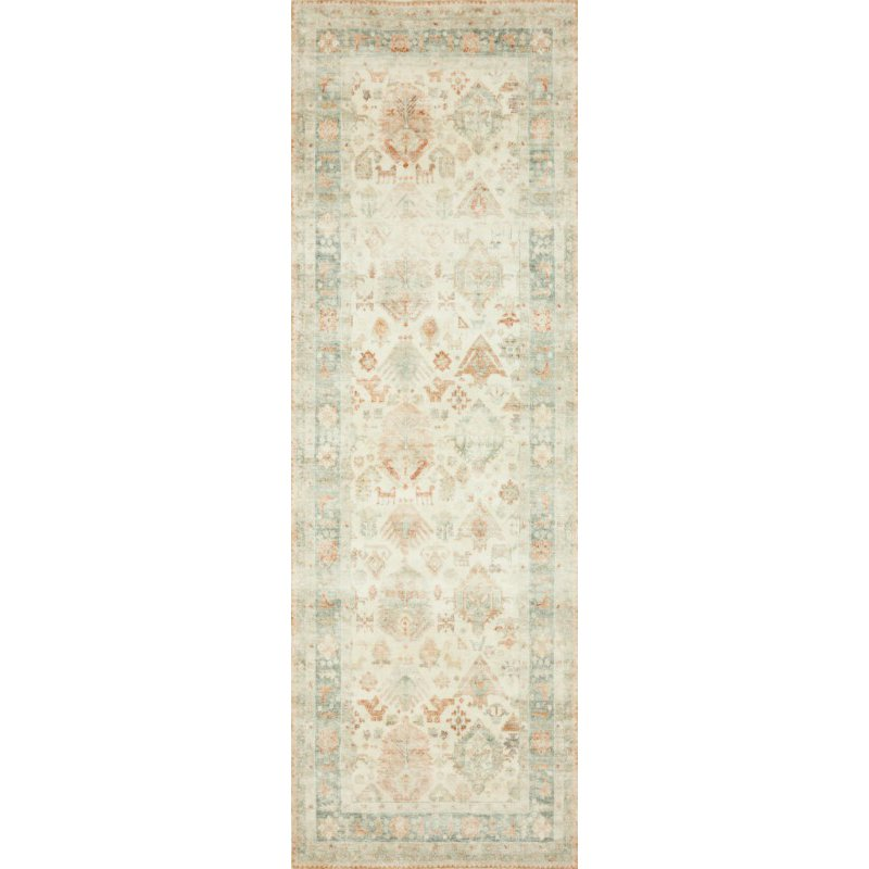 "Loloi II Rosette ROS-01 Traditional Power Loomed 2' 6"" x 7' 6"" Runner Rug in Beige and Multi (ROSTROS-01BEML2676)"