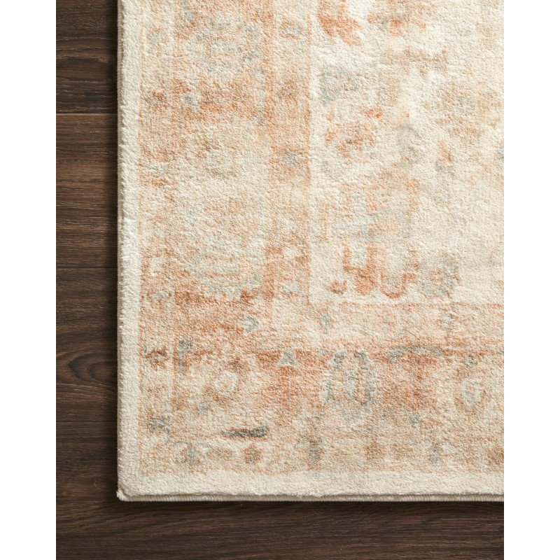 """Loloi II Rosette ROS-03 Traditional Power Loomed 2' 2"""" x 3' 8"""" Rectangle Rug in Ivory and Terracotta (ROSTROS-03IVTC2238)"""