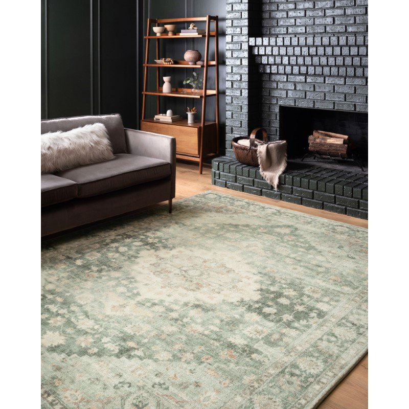 """Loloi II Rosette ROS-08 Traditional Power Loomed 2' 2"""" x 5' Rectangle Rug in Teal and Ivory (ROSTROS-08TEIV2250)"""