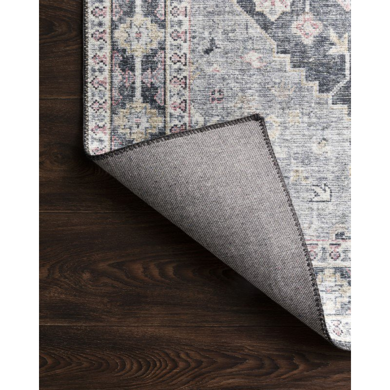 """Loloi II Skye SKY-02 Traditional Power Loomed 1' 6"""" x 1' 6"""" Sample Square Rug in Charcoal and Multi (SKYESKY-02CCML160S)"""