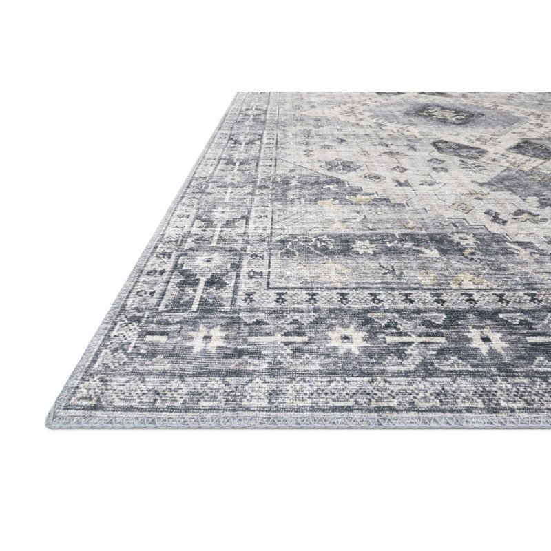"""Loloi II Skye SKY-02 Traditional Power Loomed 1' 6"""" x 1' 6"""" Sample Square Rug in Silver and Grey (SKYESKY-02SIGY160S)"""