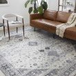 """Loloi II Skye SKY-02 Traditional Power Loomed 3' 6"""" x 5' 6"""" Rectangle Rug in Silver and Grey (SKYESKY-02SIGY3656)"""