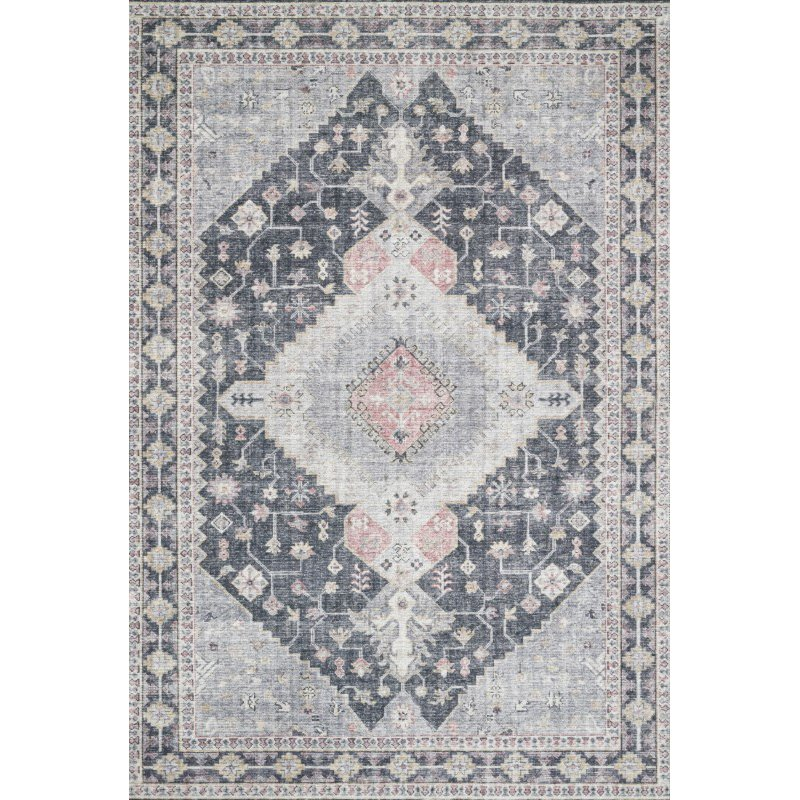 """Loloi II Skye SKY-02 Traditional Power Loomed 5' x 7' 6"""" Rectangle Rug in Charcoal and Multi (SKYESKY-02CCML5076)"""