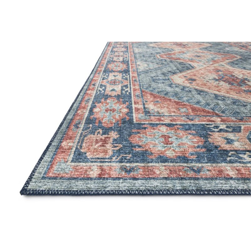 """Loloi II Skye SKY-03 Traditional Power Loomed 3' 6"""" x 5' 6"""" Rectangle Rug in Turquoise and Terracotta (SKYESKY-03TQTC3656)"""