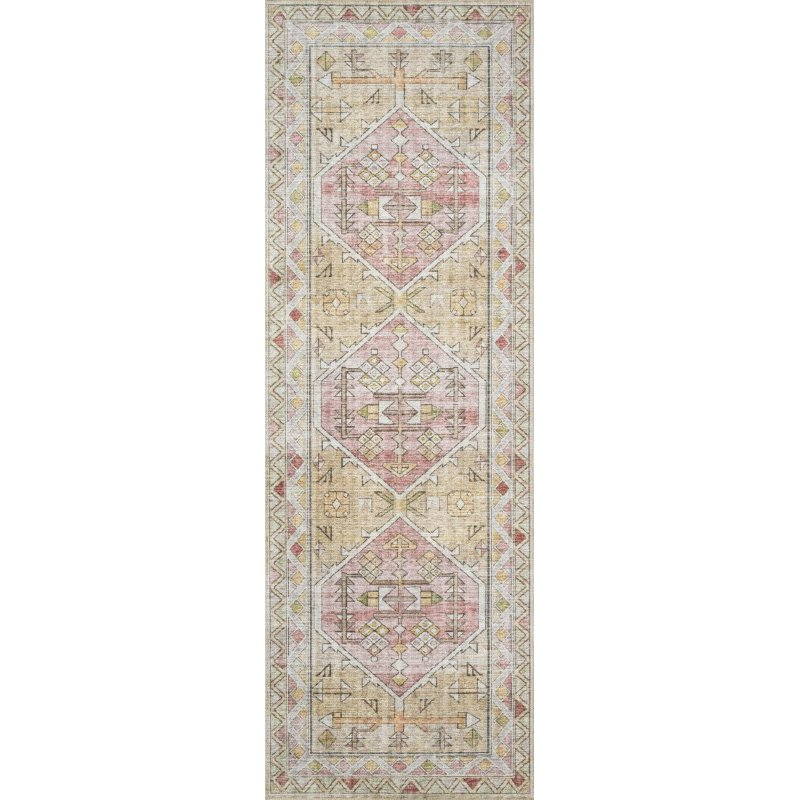 """Loloi II Skye SKY-04 Traditional Power Loomed 2' 3"""" x 3' 9"""" Rectangle Rug in Gold and Blush (SKYESKY-04GOBH2339)"""