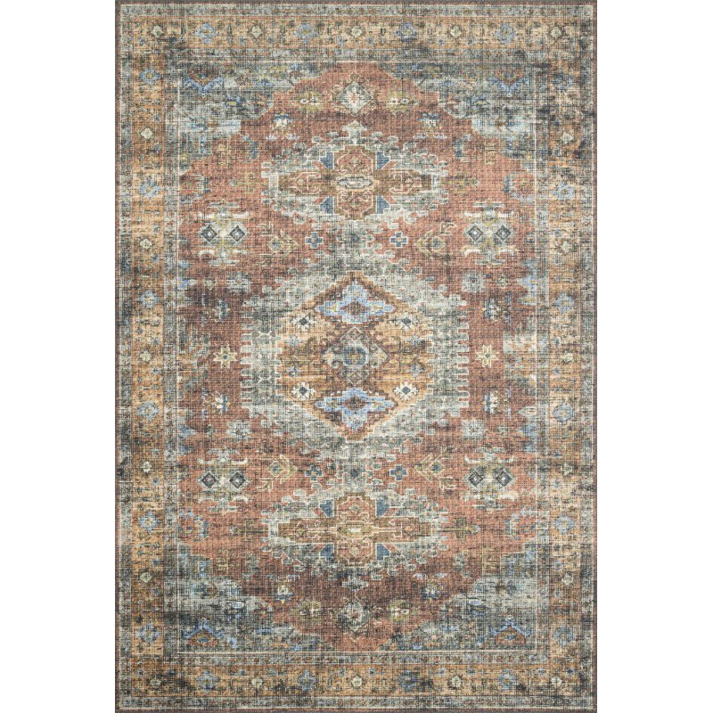 "Loloi II Skye SKY-07 Traditional Power Loomed 5' x 7' 6"" Rectangle Rug in Terracotta and Sky (SKYESKY-07TCSC5076)"