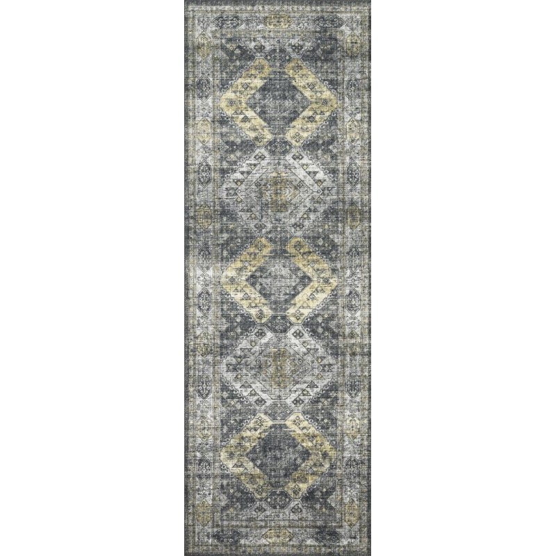 """Loloi II Skye SKY-09 Traditional Power Loomed 1' 6"""" x 1' 6"""" Sample Swatch Rug in Graphite and Silver (SKYESKY-09GTSI160S)"""