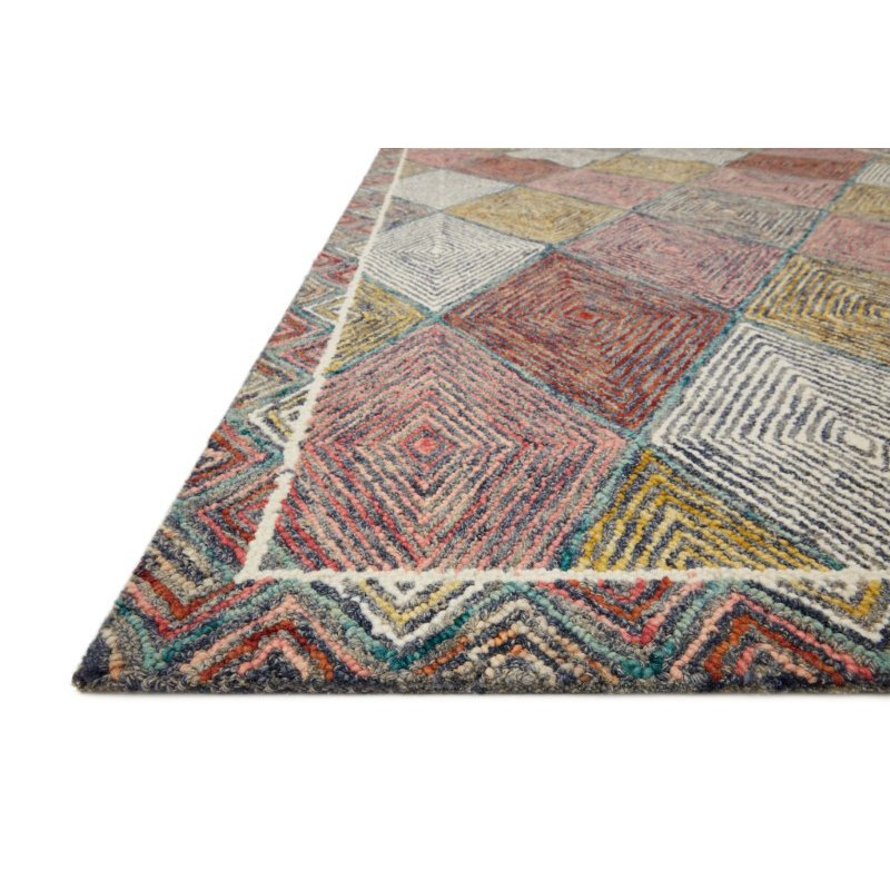 """Loloi II Spectrum SPE-02 Contemporary Hooked 2' 6"""" x 7' 6"""" Runner Rug in Turquoise and Fiesta (SPECSPE-02TQFD2676)"""