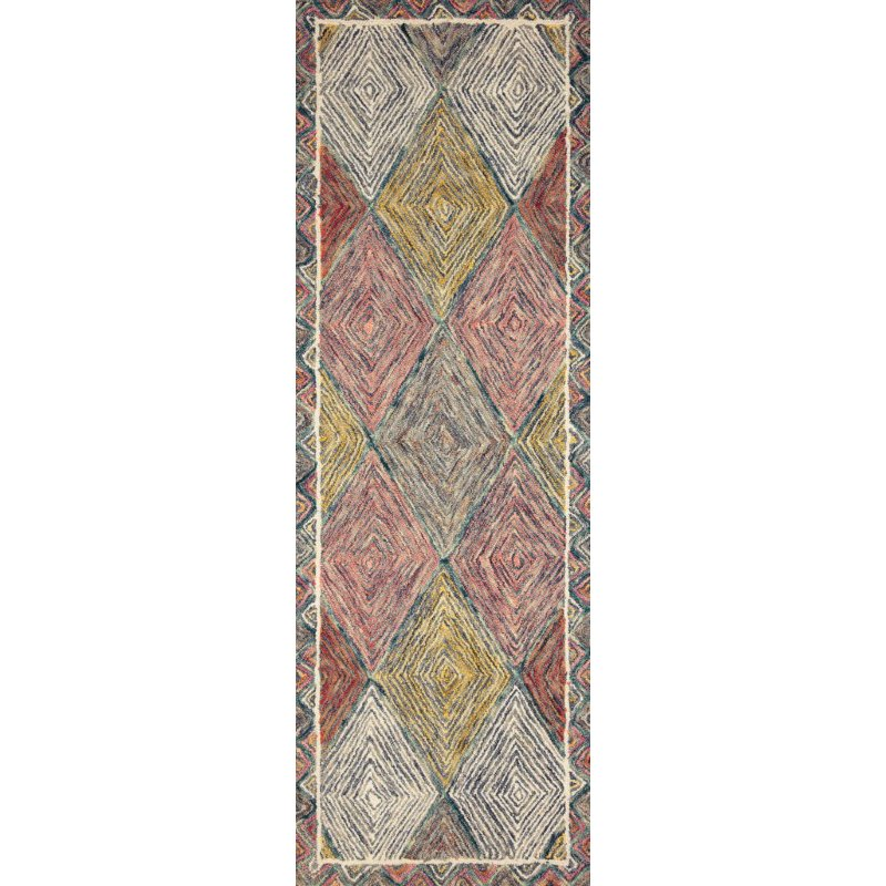 """Loloi II Spectrum SPE-02 Contemporary Hooked 2' 6"""" x 9' 9"""" Rectangle Rug in Turquoise and Fiesta (SPECSPE-02TQFD2699)"""