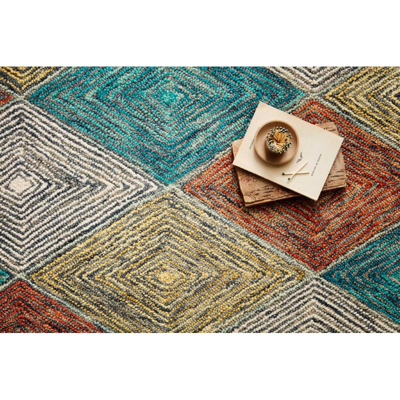 """Loloi II Spectrum SPE-02 Contemporary Hooked 5' x 7' 6"""" Rectangle Rug in Sunset and Ocean (SPECSPE-02SSOC5076)"""