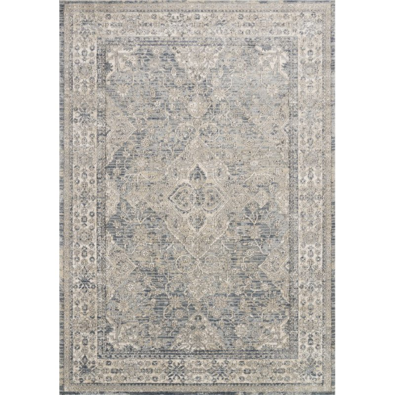 """Loloi II Teagan TEA-04 Power Loomed 1' 6"""" x 1' 6"""" Sample Swatch Square Rug in Sky and Natural (TEAGTEA-04SCNA160S)"""