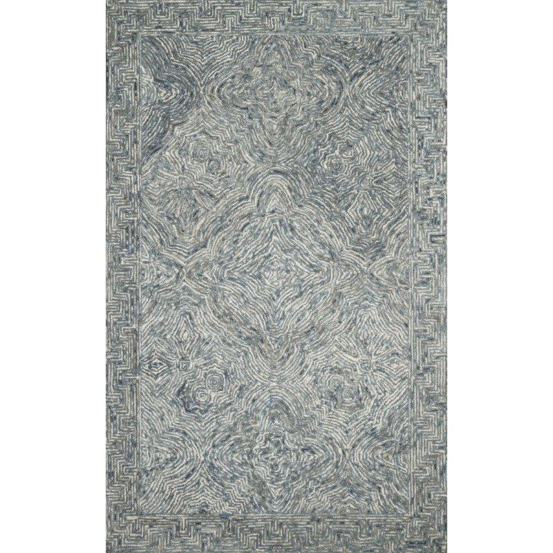"""Loloi II Ziva ZV-04 Contemporary Hand Tufted 7' 9"""" x 9' 9"""" Rectangle Rug in Denim (ZIVAZV-04DE007999)"""