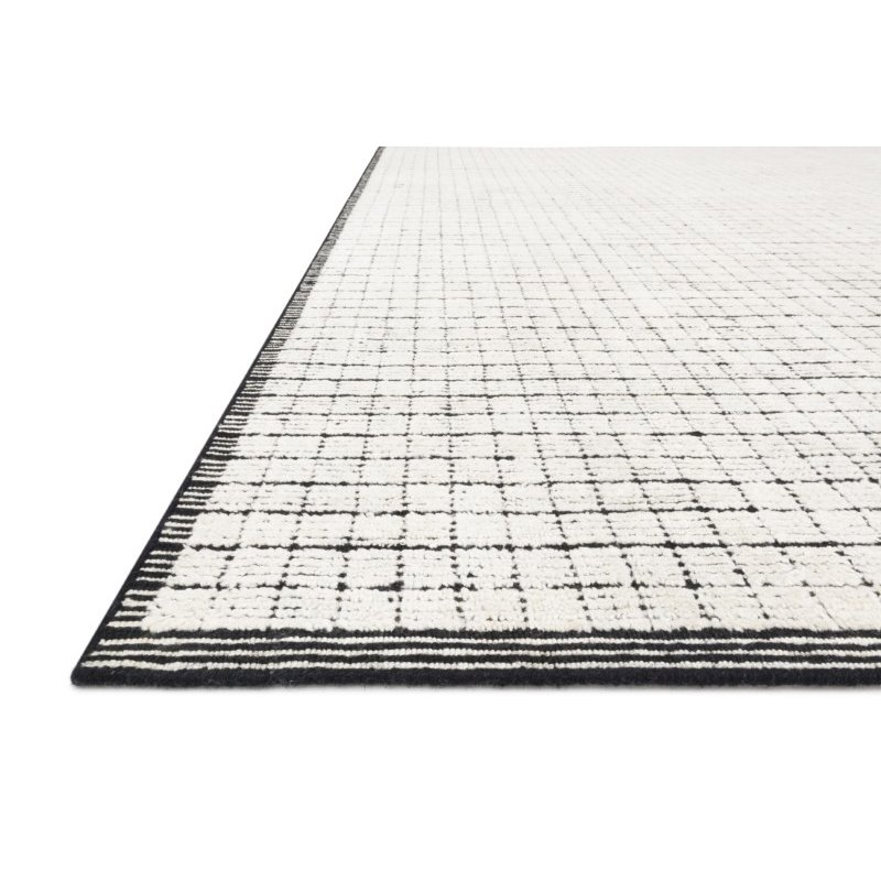 Loloi Beverly BEV-01 Contemporary Hand Loomed 2' x 3' Rectangle Rug in Ivory and Black (BEVEBEV-01IVBL2030)