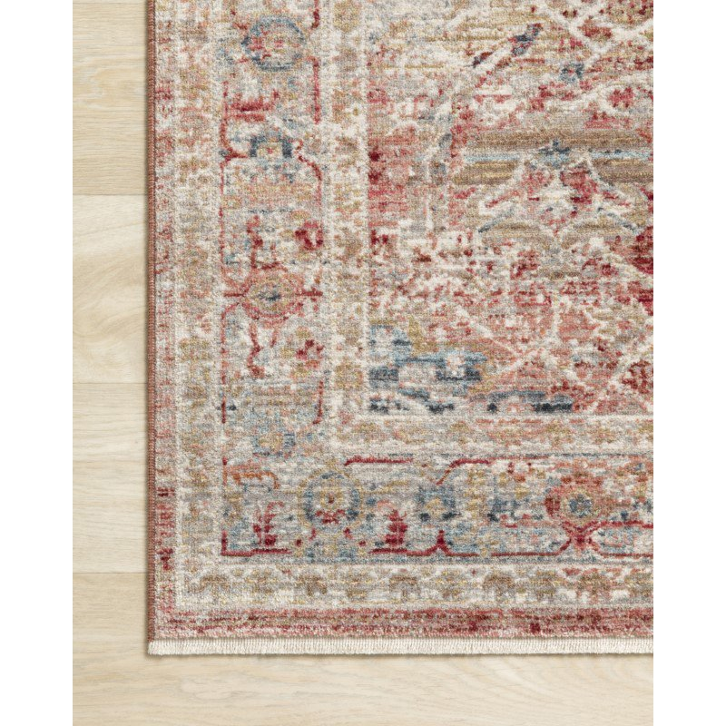 """Loloi Claire CLE-01 Traditional Power Loomed 9' 6"""" x 13' Rectangle Rug in Red and Ivory (CLAECLE-01REIV96D0)"""