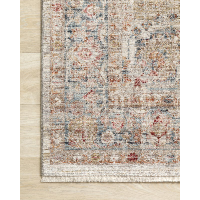 "Loloi Claire CLE-02 Traditional Power Loomed 1' 6"" x 1' 6"" Sample Swatch Square Rug in Ivory and Ocean (CLAECLE-02IVOC160S)"