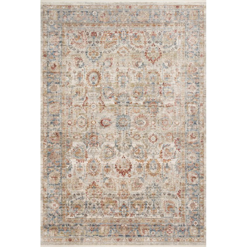 """Loloi Claire CLE-02 Traditional Power Loomed 7' 10"""" x 10' 2"""" Rectangle Rug in Ivory and Ocean (CLAECLE-02IVOC7AA2)"""