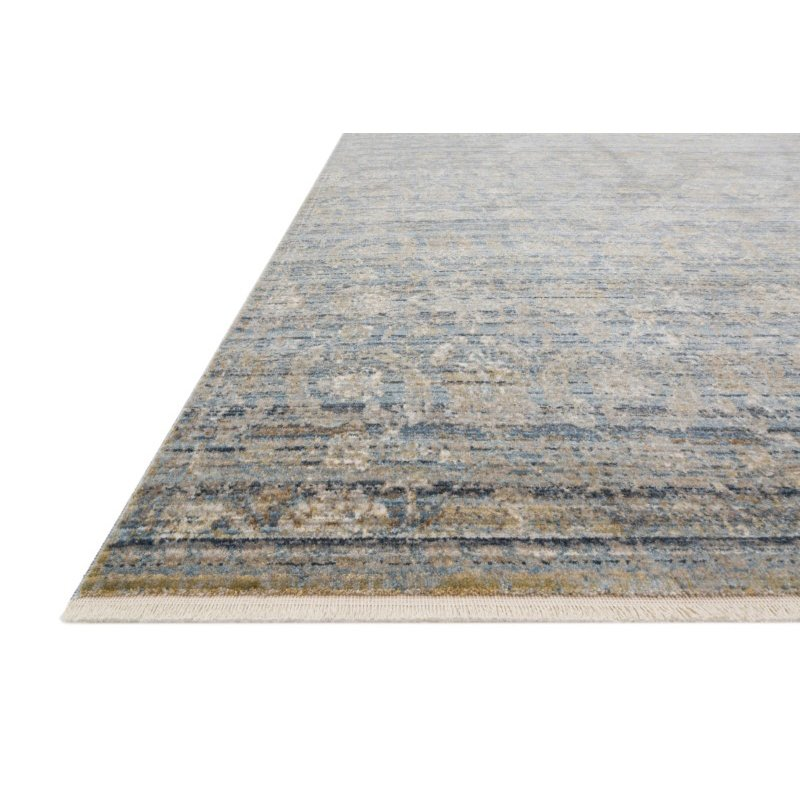 """Loloi Claire CLE-03 Traditional Power Loomed 2' 7"""" x 9' 6"""" Runner Rug in Ocean and Gold (CLAECLE-03OCGO2796)"""