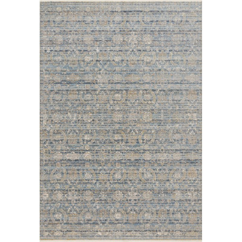 """Loloi Claire CLE-03 Traditional Power Loomed 5' 3"""" x 7' 9"""" Rectangle Rug in Ocean and Gold (CLAECLE-03OCGO5379)"""