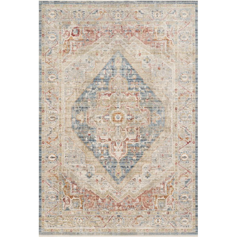 """Loloi Claire CLE-04 Traditional Power Loomed 7' 10"""" x 10' 2"""" Rectangle Rug in Blue and Multi (CLAECLE-04BBML7AA2)"""