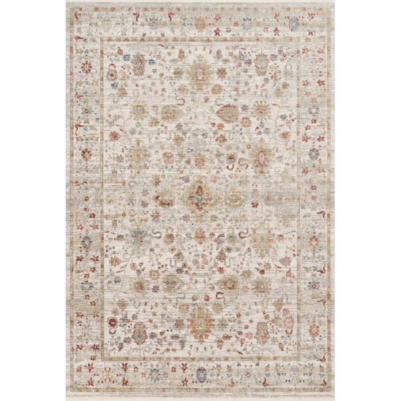 """Loloi Claire CLE-05 Traditional Power Loomed 7' 10"""" x 10' 2"""" Rectangle Rug in Ivory and Multi (CLAECLE-05IVML7AA2)"""