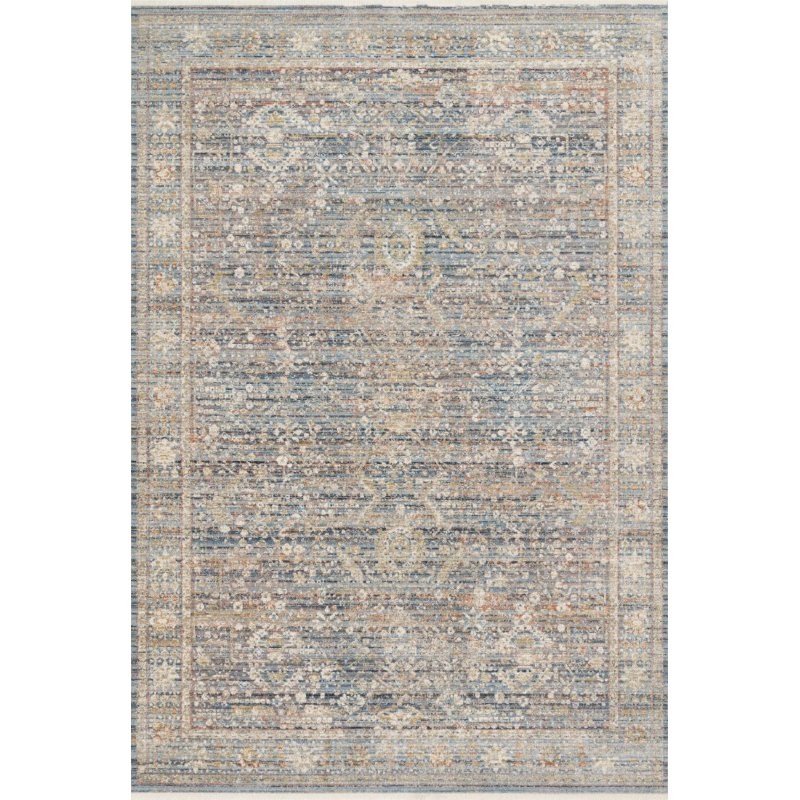 "Loloi Claire CLE-06 Traditional Power Loomed 3' 7"" x 5' 1"" Rectangle Rug in Blue and Sunset (CLAECLE-06BBSS3751)"