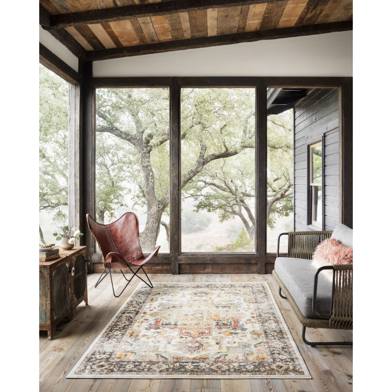 """Loloi Clara CLA-01 Transitional Power Loomed 3' 6"""" x 5' 9"""" Rectangle Rug in Ivory and Charcoal (CLARCLA-01IVCC3659)"""