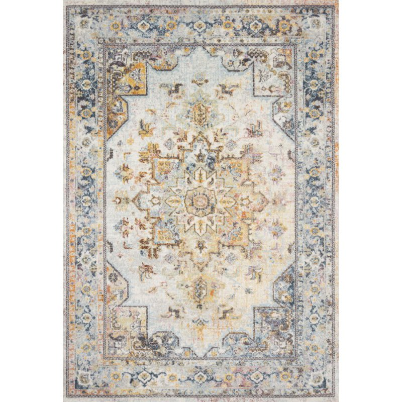 "Loloi Clara CLA-06 Transitional Power Loomed 7' 10"" x 10' 6"" Rectangle Rug in Mist and Multi (CLARCLA-06MIML7AA6)"