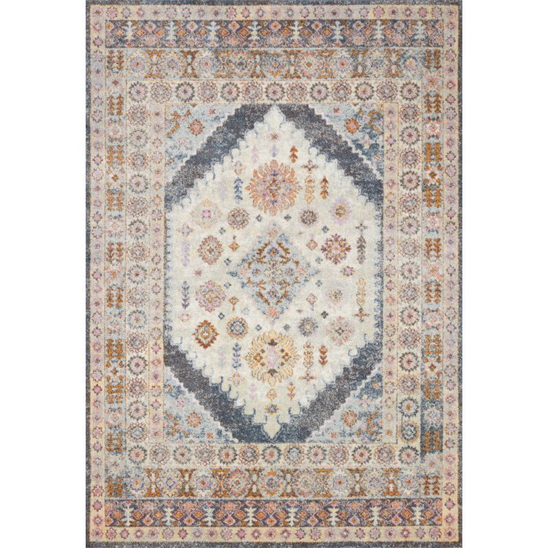 """Loloi Clara CLA-07 Transitional Power Loomed 2' 5"""" x 10' 6"""" Runner Rug in Pebble and Fiesta (CLARCLA-07PPFD25A6)"""