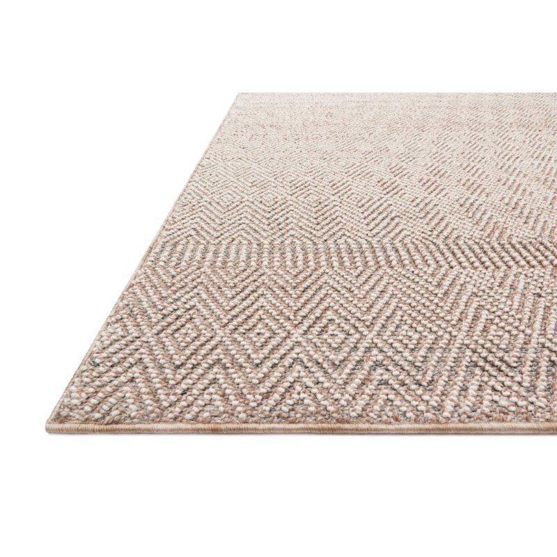 "Loloi Cole COL-02 Indoor/Outdoor Power Loomed 1' 6"" x 1' 6"" Sample Swatch Square Rug in Blush and Ivory (COLECOL-02BHIV160S)"
