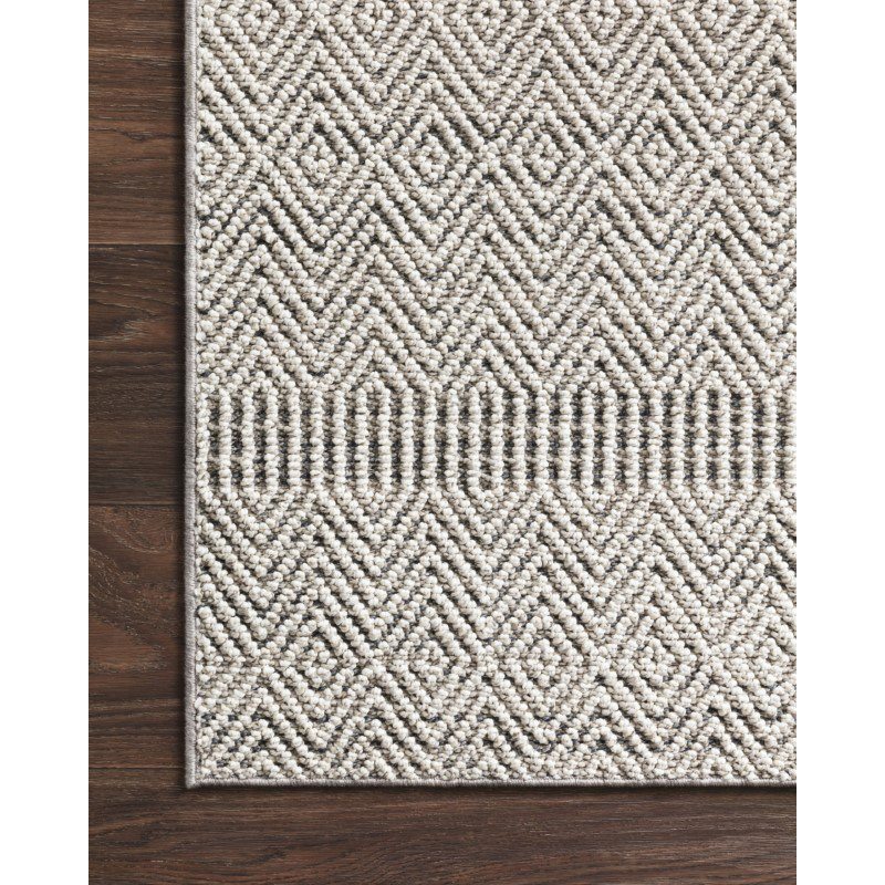 """Loloi Cole COL-02 Indoor/Outdoor Power Loomed 7' 10"""" x 10' 1"""" Rectangle Rug in Grey and Bone (COLECOL-02GYBO7AA1)"""