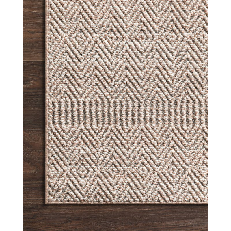 """Loloi Cole COL-02 Indoor/Outdoor Power Loomed 9' 6"""" x 12' 8"""" Rectangle Rug in Blush and Ivory (COLECOL-02BHIV96C8)"""