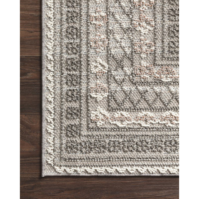 """Loloi Cole COL-03 Indoor/Outdoor Power Loomed 4' x 5' 9"""" Rectangle Rug in Grey and Multi (COLECOL-03GYML4059)"""