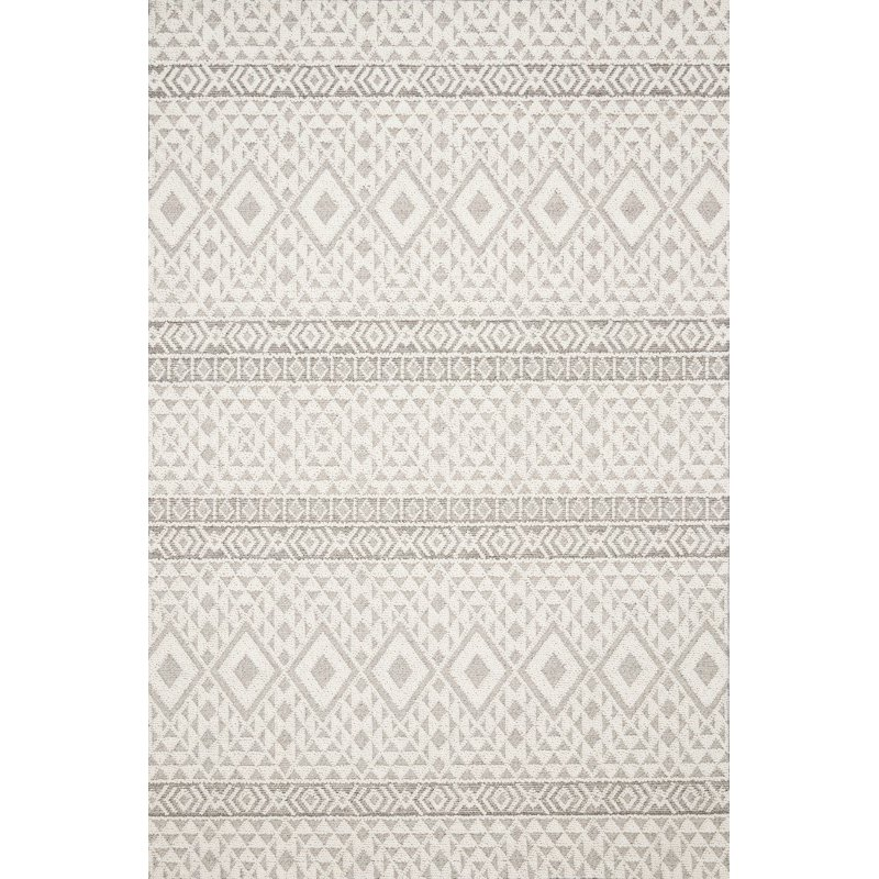 """Loloi Cole COL-04 Indoor/Outdoor Power Loomed 2' 7"""" x 12' Runner Rug in Silver and Ivory (COLECOL-04SIIV27C0)"""