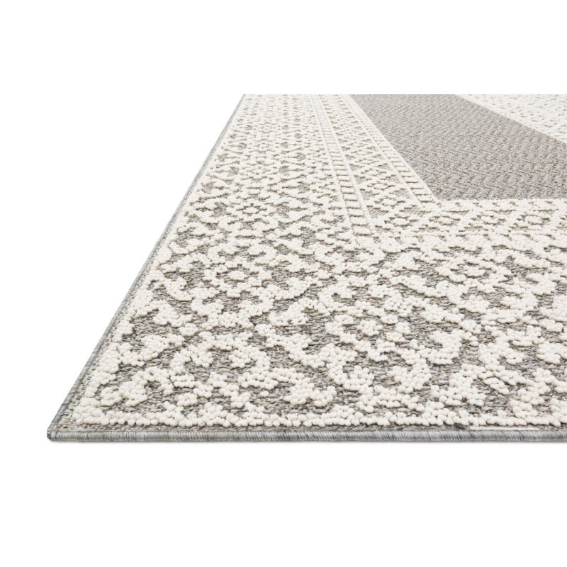 """Loloi Cole COL-05 Indoor/Outdoor Power Loomed 1' 6"""" x 1' 6"""" Sample Swatch Square Rug in Grey and Ivory (COLECOL-05GYIV160S)"""