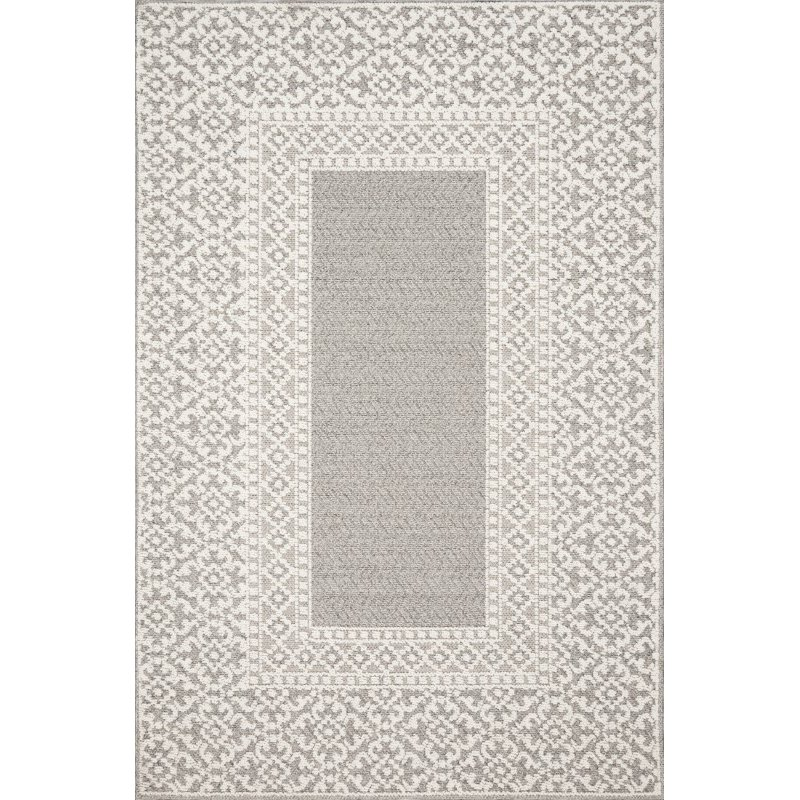 """Loloi Cole COL-05 Indoor/Outdoor Power Loomed 4' x 5' 9"""" Rectangle Rug in Grey and Ivory (COLECOL-05GYIV4059)"""