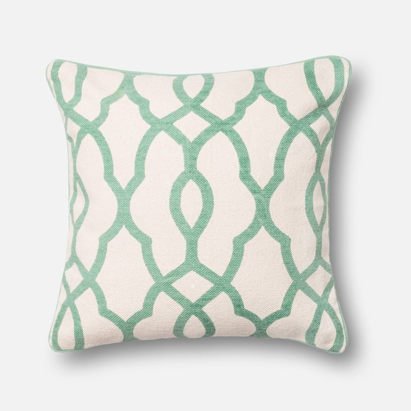 """Loloi DSET Collection P0172 Pillow 22"""" x 22"""" Cover with Down in Ivory and Lt. Green"""