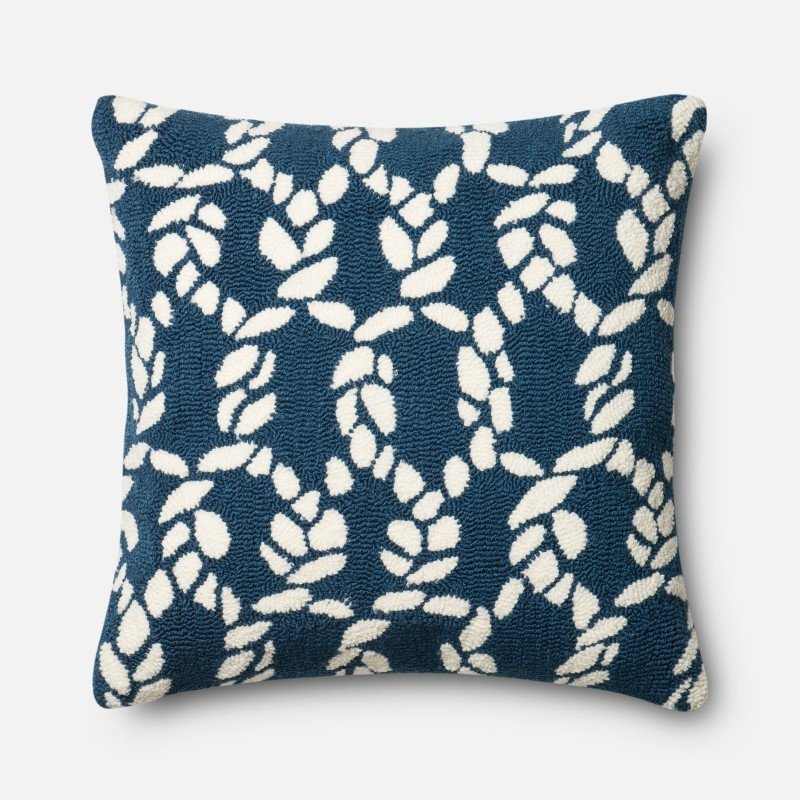 """Loloi DSET Collection P0351 Pillow 22"""" x 22"""" Cover with Down in Navy and Ivory"""