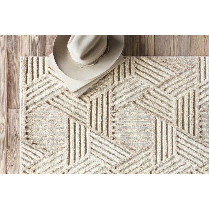 "Loloi Ehren EHR-04 Contemporary Hand Tufted 7' 9"" x 9' 9"" Rectangle Rug in Oatmeal and Ivory (EHREEHR-04OTIV7999)"