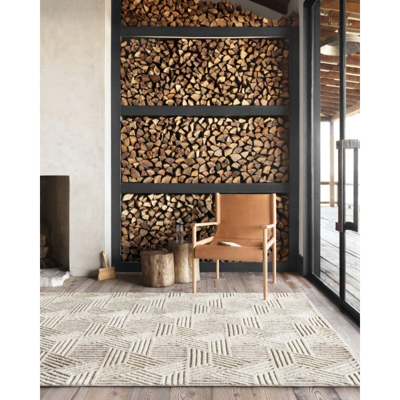 """Loloi Ehren EHR-04 Contemporary Hand Tufted 9' 3"""" x 13' Rectangle Rug in Oatmeal and Ivory (EHREEHR-04OTIV93D0)"""