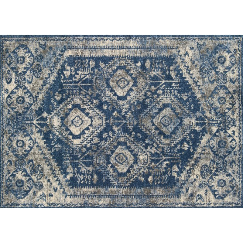 """Loloi Emory EB-13 Transitional Runner Rug 2' 5"""" x 7' 7"""" in Blue and Pebble (EMOREB-13BBPP2577)"""
