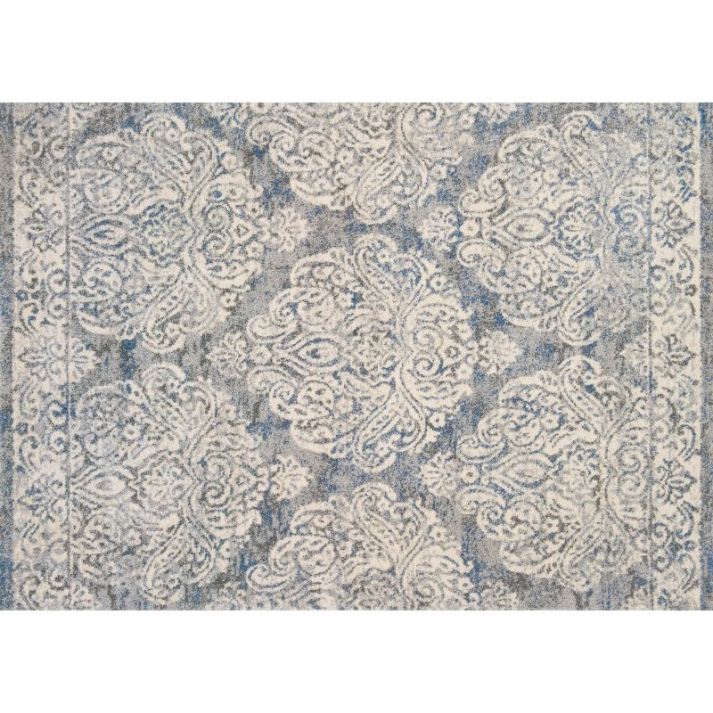 "Loloi Emory EB-14 Transitional Runner Rug 2' 5"" x 7' 7"" in Slate and Ivory (EMOREB-14SLIV2577)"
