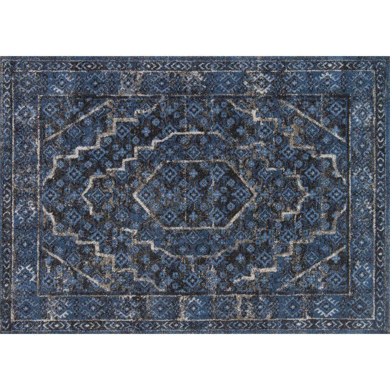 "Loloi Emory EB-15 Transitional Rectangle Rug 3' 10"" x 5' 7"" in Denim and Grey (EMOREB-15DEGY3A57)"