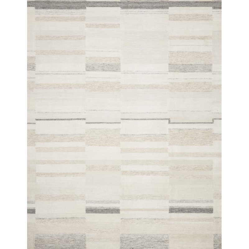 "Loloi Evelina EVE-03 Contemporary Hand Woven 1' 6"" x 1' 6"" Sample Square Rug in Ivory and Beige (EVELEVE-03IVBE160S)"