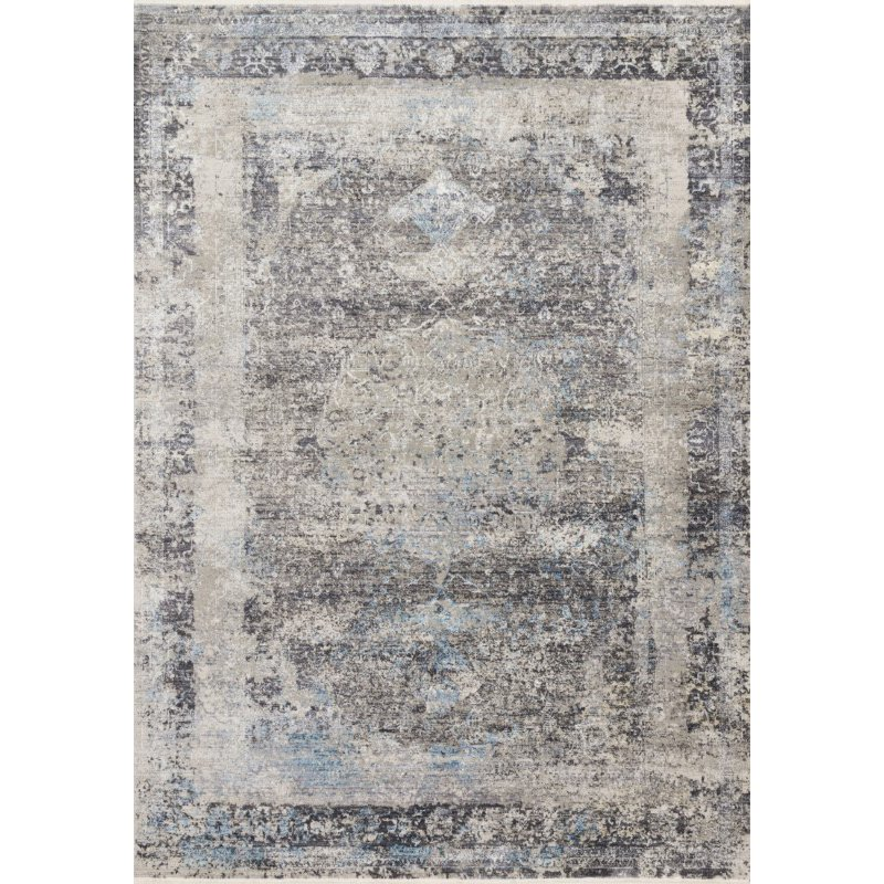 "Loloi Franca FRN-03 Transitional Power Loomed 9' 6"" x 13' Rectangle Rug in Charcoal and Sky (FNCAFRN-03CCSC96D0)"