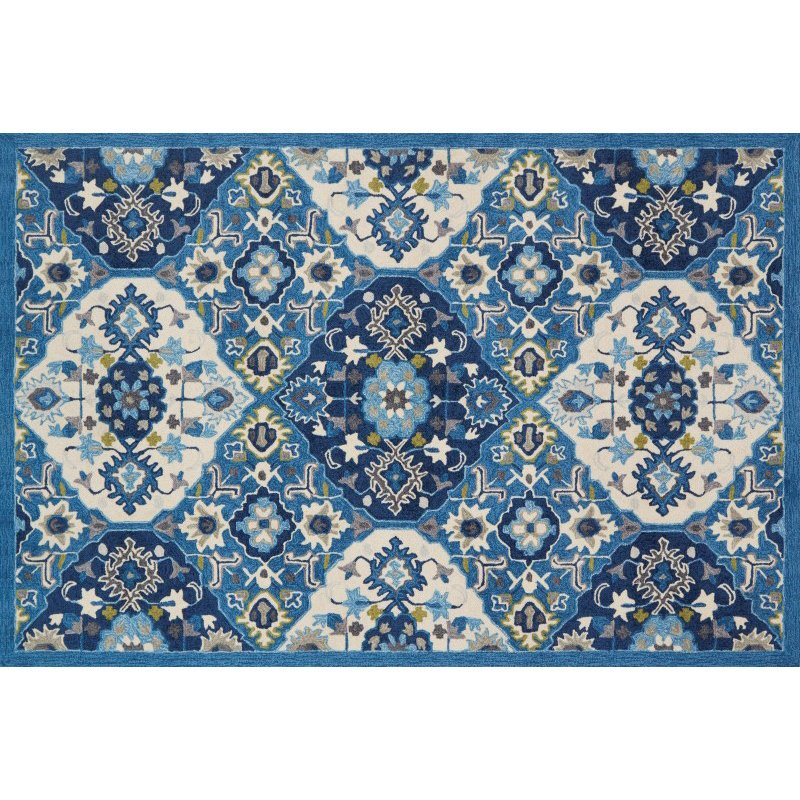 """Loloi Francesca FC-62 Transitional Hand-Made Rectangle Rug 2' 3"""" x 3' 9"""" in Blue and Ivory (FRACFC-62BBIV2339)"""