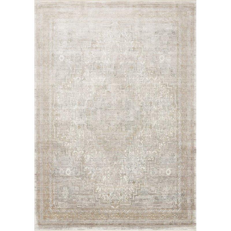 "Loloi Gemma GEM-01 Traditional Power Loomed 9' 6"" x 12' 6"" Rectangle Rug in Sand and Ivory (GEMAGEM-01SAIV96C6)"