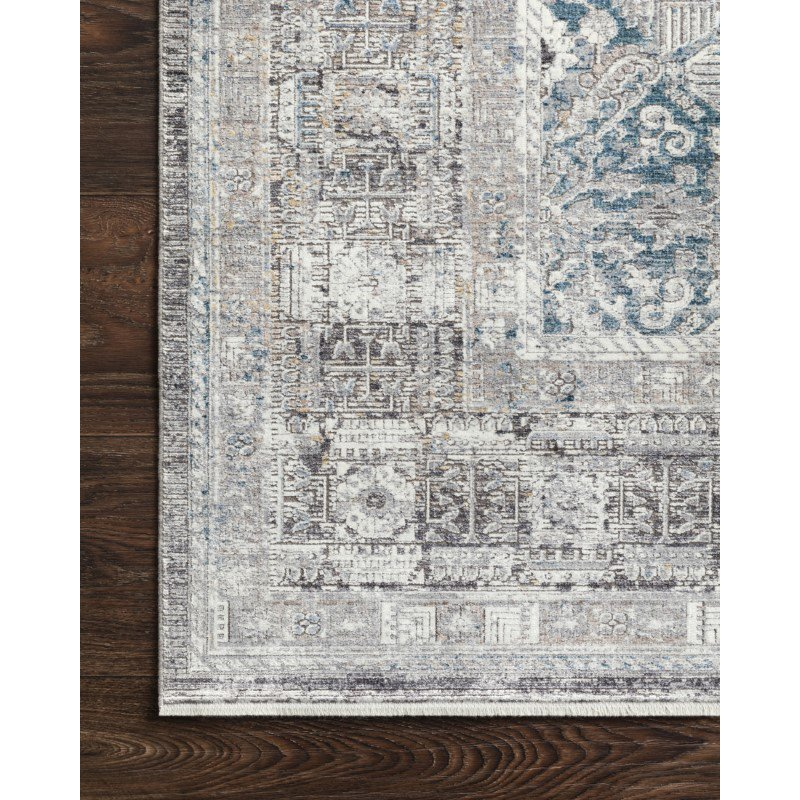 "Loloi Gemma GEM-05 Traditional Power Loomed 5' x 7' 3"" Rectangle Rug in Silver and Blue (GEMAGEM-05SIBB5073)"