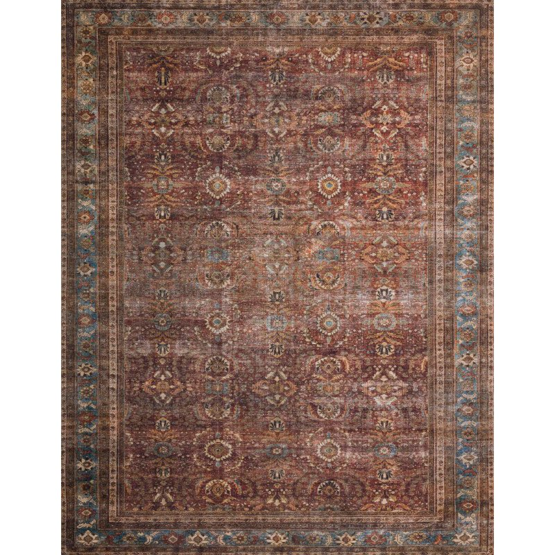 "Loloi II Layla LAY-01 2' 6"" x 12' Runner Rug in Brick and Blue (LAYLLAY-01BKBB26C0)"