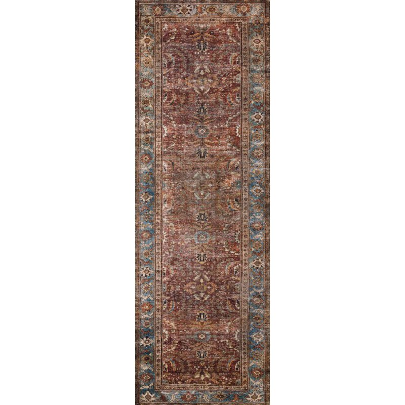"Loloi II Layla LAY-01 7' 6"" x 9' 6"" Rectangle Rug in Brick and Blue (LAYLLAY-01BKBB7696)"