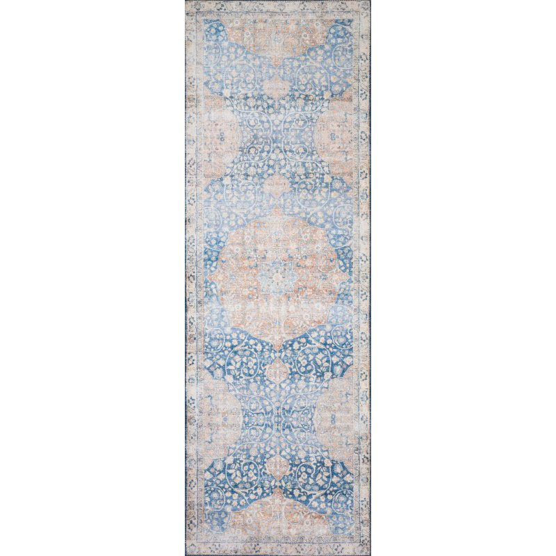 "Loloi II Layla LAY-07 2' 3"" x 3' 9"" Rectangle Rug in Blue and Tangerine (LAYLLAY-07BBTG2339)"
